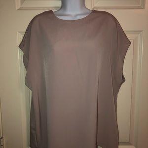 Express blush cap sleeve flattering blouse